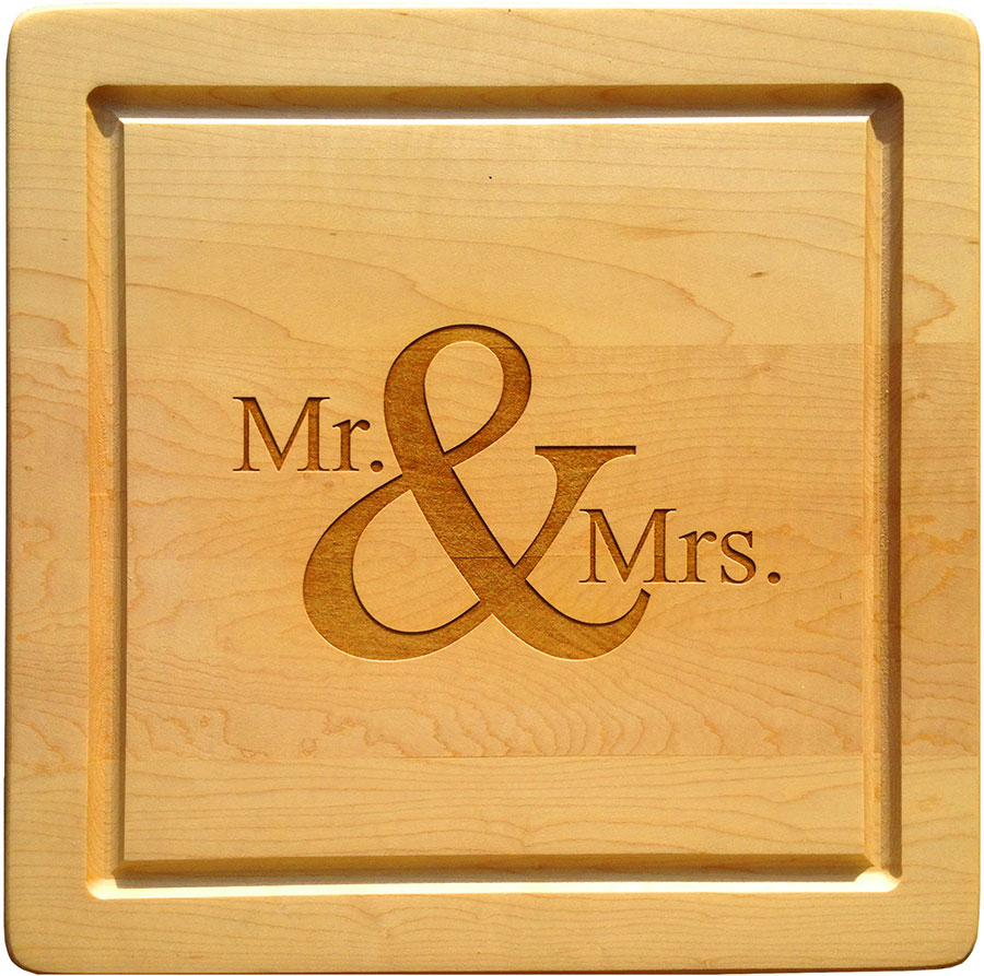 Mr Mrs Maple Leaf Cutting Board