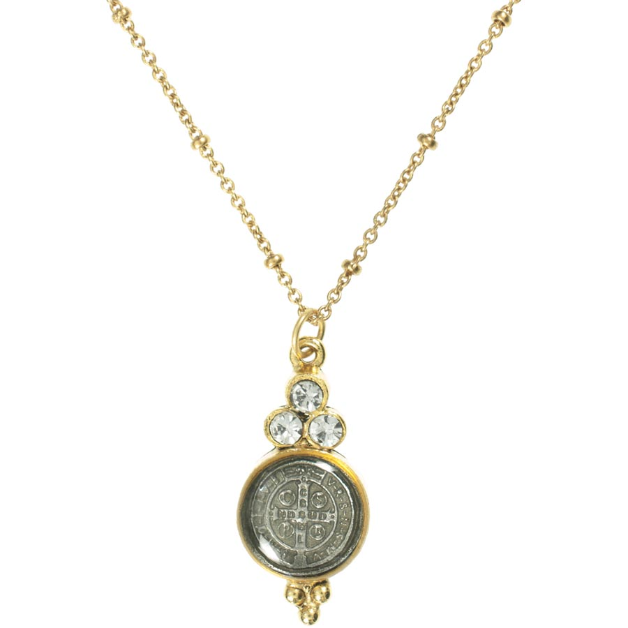 Virgins, Saints and Angels Lucia Charm Necklace Gold Clear