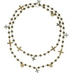 Virgins, Saints and Angels Pearl Pax Multicross Necklace Mixed Antique Brass Pearl