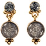 Virgins, Saints and Angels San Benito Earrings Gold Black Diamond
