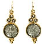 Virgins, Saints and Angels San Benito Lucia Earrings Gold Greige