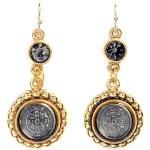 Virgins, Saints and Angels San Benito Magdalena Earrings Gold Black Diamond