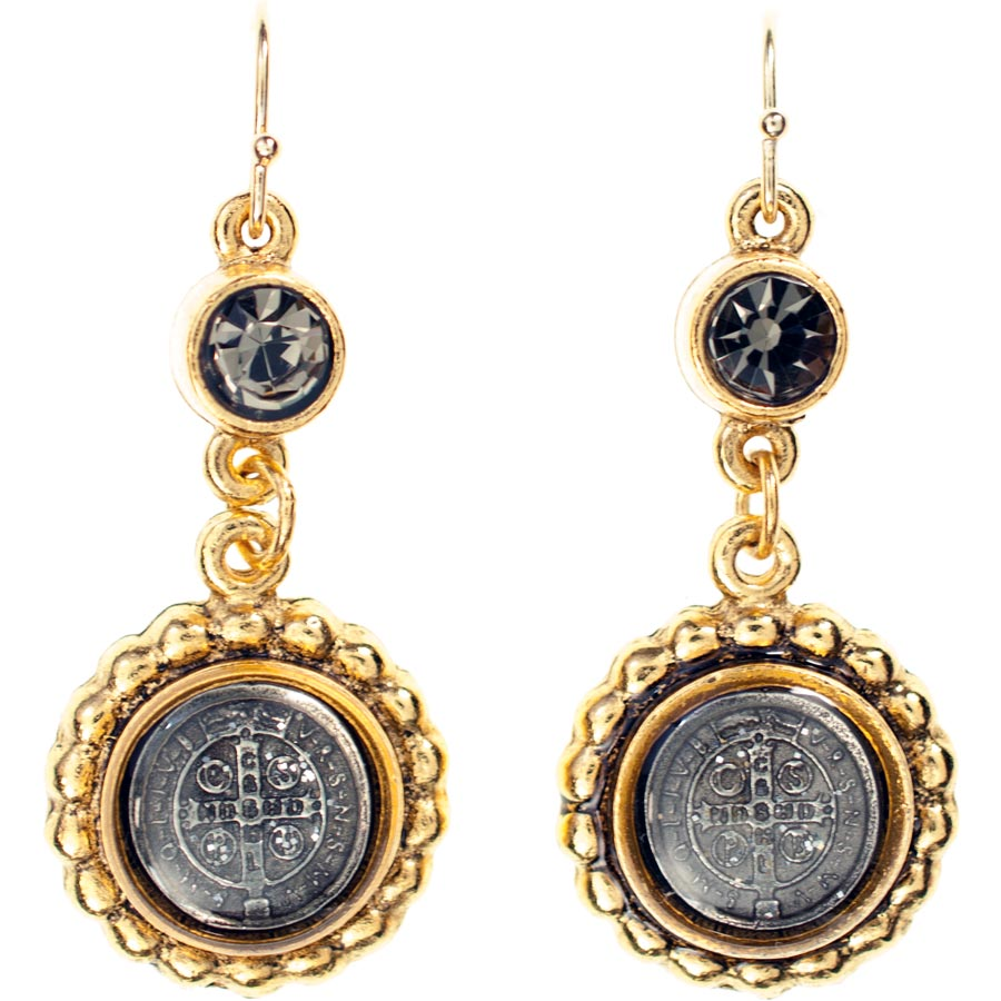 Virgins, Saints and Angels San Benito Magdalena Earrings Gold Black Diamond
